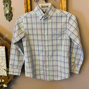 Izod Button Down Plaid Collared Dress Shirt